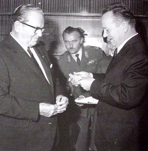 Tito i Božin Jovanović ( direktor RTB-a 1965-1975) u Boru