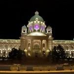 Osvetljena kupola Narodne skupstine Republike Srbije