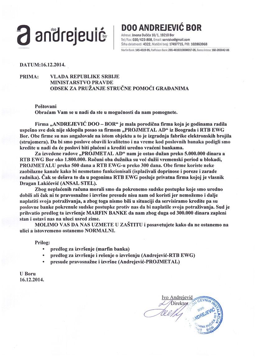 dopis ministarstvu pravde