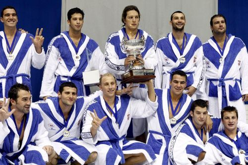 Mesto: Berlin Datum: 12.08.2007 Dogadjaj: SPORT - reprezentacija Srbije pobedila je ekipu Maðarske u finalu Svetske vaterpolo lige FINA u Berlinu Licnosti: