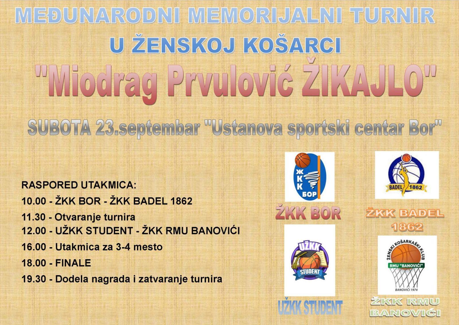 """Međunarodni memorijalni turnir """"Miodrag Prvulović Žikajlo"""" - Subota 23.septembar"""